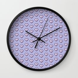 purple pixel hearts Wall Clock