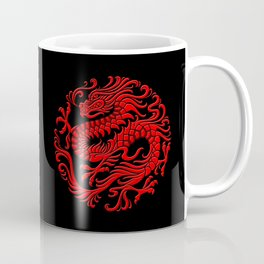 Traditional Red Chinese Dragon Circle Coffee Mug
