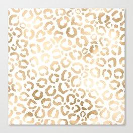 Elegant Gold White Leopard Cheetah Animal Print Canvas Print