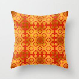 Chinese grid pattern in traditional colors Throw Pillow