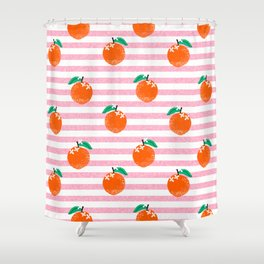 Orange fruit pattern with pink stripes fun pattern for boys or girls room Shower Curtain