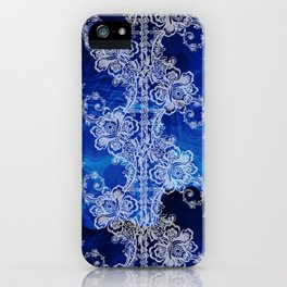 White Lace on Swirling Blues iPhone Case