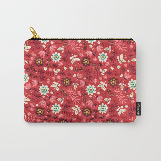 Fresh Blossoms (Reds) Carry-All Pouch