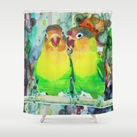 posters Shower Curtains featuring Neon Watercolor Parrot Print or Posters  by Splashy Art