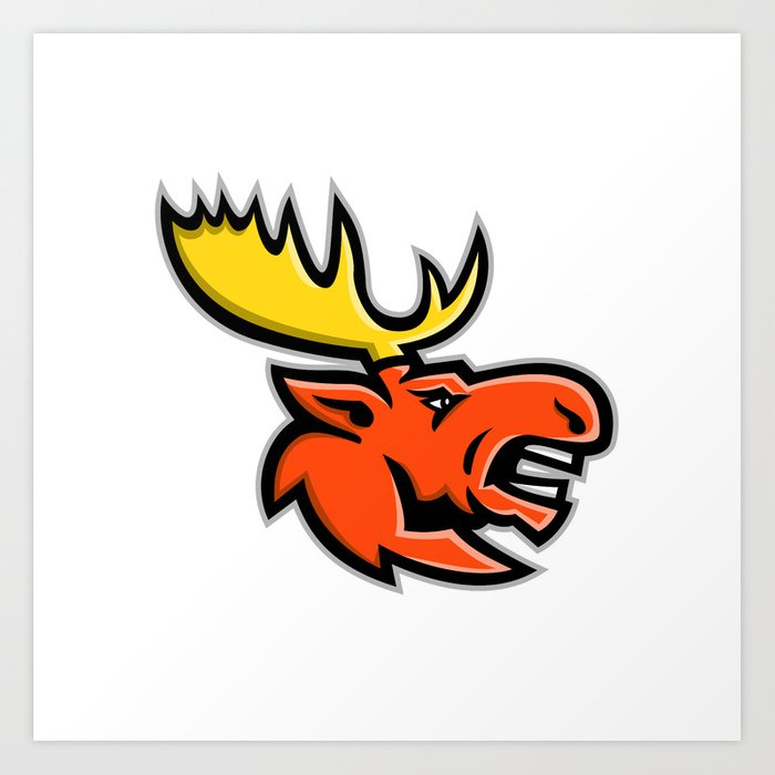 Angry Moose Head Mascot Art Print