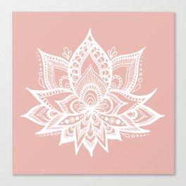 White Lotus Flower on Rose Gold Canvas Print