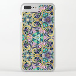 Abstract Gemstone and Gold Kaleidoscope Clear iPhone Case