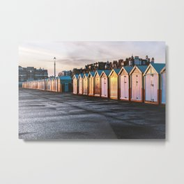 Colored beach huts at Brighton, East Sussex, Englan Metal Print