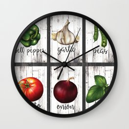 Rustic White Wood Herbs & Garden Vegetables Wall Clock