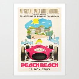 Peach Beach Grand Prix Art Print