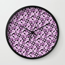 Pink Touched Winter Leaves Wall Clock