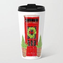 Red Christmas Door with Boxwood Wreath Travel Mug