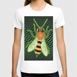 Radiactive Bee over Futuristic Beehive T-shirt