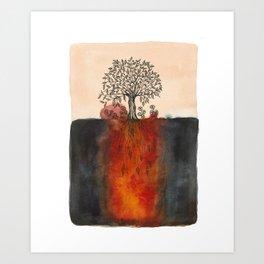 Watercolor Lone Tree Art Print