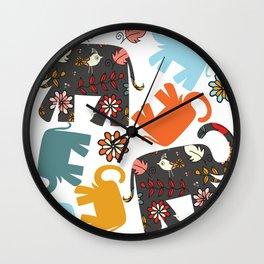 Elephants pattern #4SD Wall Clock