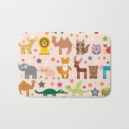 Set of funny cartoon animals character on pink seamless background. zoo. Vector Bath Mat