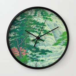 Kawase Hasui, Waterfall, Japanese Woodblock Print Ukiyo-e, Shin-hanga, Landscape Wall Clock