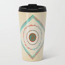 Pata Patterns in Blue & Orange on Mustard Travel Mug