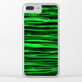 Lime Green and Black Stripes Clear iPhone Case