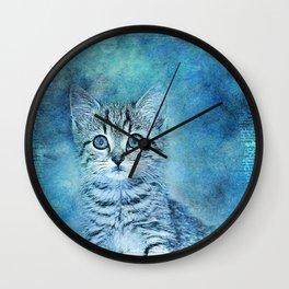 Blue Kitten Wall Clock