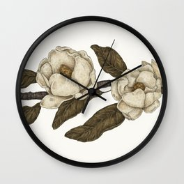 Magnolias Branch Wall Clock
