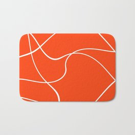 """Abstract lines"" - White on orange Badematte"