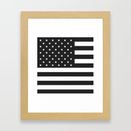 American Flag Stars and Stripes Black White Framed Art Print