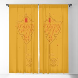 Key to Tejas - Mustard Yellow & Red Blackout Curtain