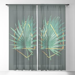 Minimal Tropical Palm Leaf - Palm And Gold - Gold Geometric Shape - Modern Tropical Wall Art - 2 Sheer Curtain