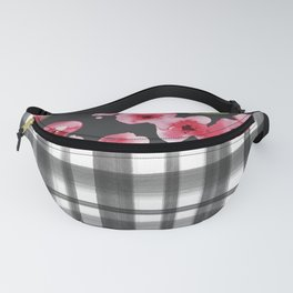 Geometric black white pink watercolor floral plaid Fanny Pack