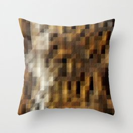 Abstract Brown Textured Geometric Squares Pattern Throw Pillow