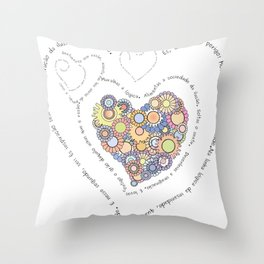 Graphic poem about love in Portuguese Throw Pillow