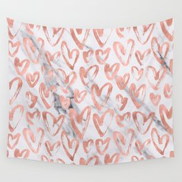 Hearts Rose Gold Marble Wall Tapestry