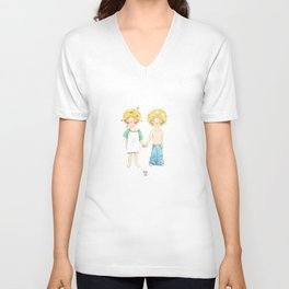 Little twin boy Unisex V-Neck
