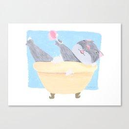 Funny Cat in the Bath tub Canvas Print