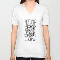 moto V-neck T-shirts featuring Mustache Moto Crew by Kris Petrat Design :  Art Love Moto