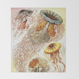 SEA CREATURES COLLAGE-Ernst Haeckel Throw Blanket