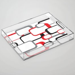 Red Black Gray Retro Square Pattern White Acrylic Tray