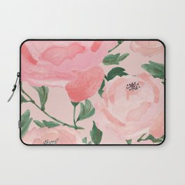 Watercolor Peonies with Blush Background Laptop Sleeve
