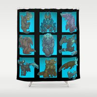 kaiju Shower Curtains featuring Kaiju Aren't So Scary by Sempaiko