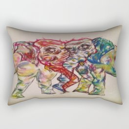 Elephant Love Watercolor Painting Rectangular Pillow