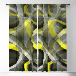 Eighties Vibes Daffodil Yellow and Grey Layered Curve Pattern Blackout Curtain
