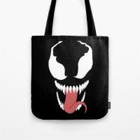 venom Tote Bags featuring venom  by Rebecca McGoran
