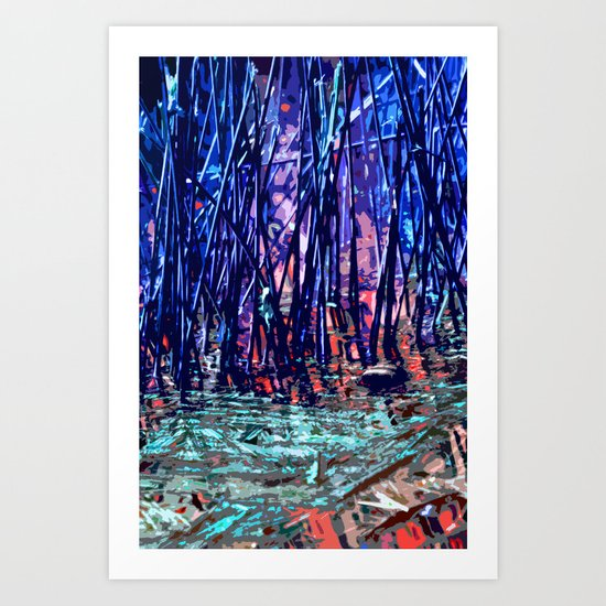 Blue Reeds Red River Art Print