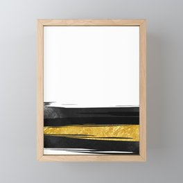 Gold and Black Stripes Framed Mini Art Print