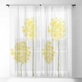 two abstract dandelions watercolor Sheer Curtain