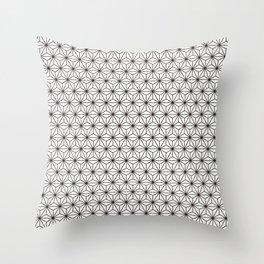 Black/White Japanese Hemp Kimono Pattern Throw Pillow