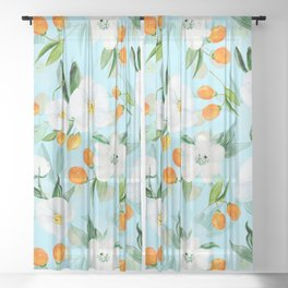 mediterranean summer kumquat and orchid branches on turquoise Sheer Curtain