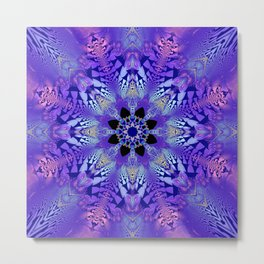 Pink, purple and sand kaleidoscope Metal Print