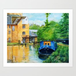 A narrow boat stops after passing through Coxes Lock near Addlestone in Surrey.  Art Print